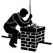 black and white icon of man on a roof with a chimney brush in his hand extending down the masonry chimney cleaning the chimney