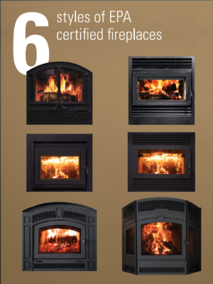 low emission wood burning fireplaces EPA Certified, stacked in two columns six fireplaces in total
