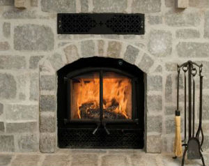Catalytic Combustor Opel2 fireplace model burning a fire with grey custom stone