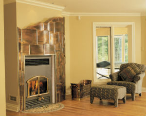 Fireplace with firewood burning, installed in the corner of the living room, double doors, fireplace has louver grills above and below the double glass doors